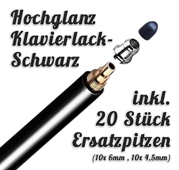 Premium Touchstift schwarz mit 20 x Ersatzspitzen Eingabestift Stylus Touch Pen -